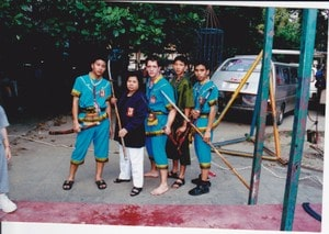 Budhaiswan sword fighting demonstration near Bangkok in the year of 2000