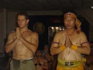 Bokator master Ajarn Sam Kim Seang and kru Pedro performing the wai kru