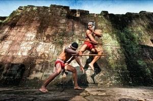 Training bokator in temple
